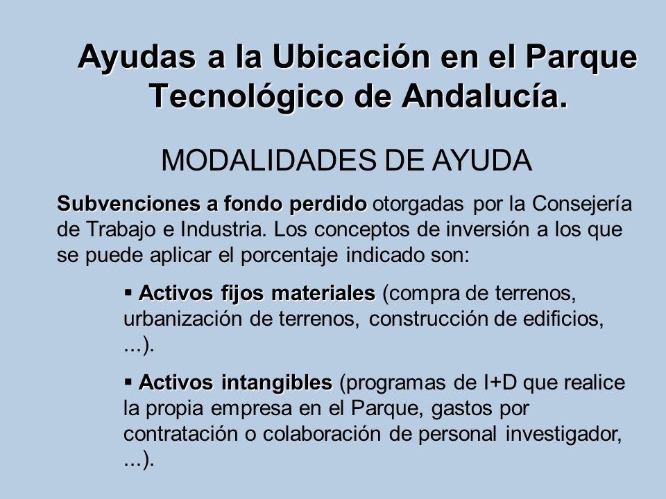 Ayudas a la Ubicación en el Parque Tecnológico de Andalucía. MODALIDADES DE AYUDA Subvenciones a fondo perdido Subvenciones a fondo perdido otorgadas