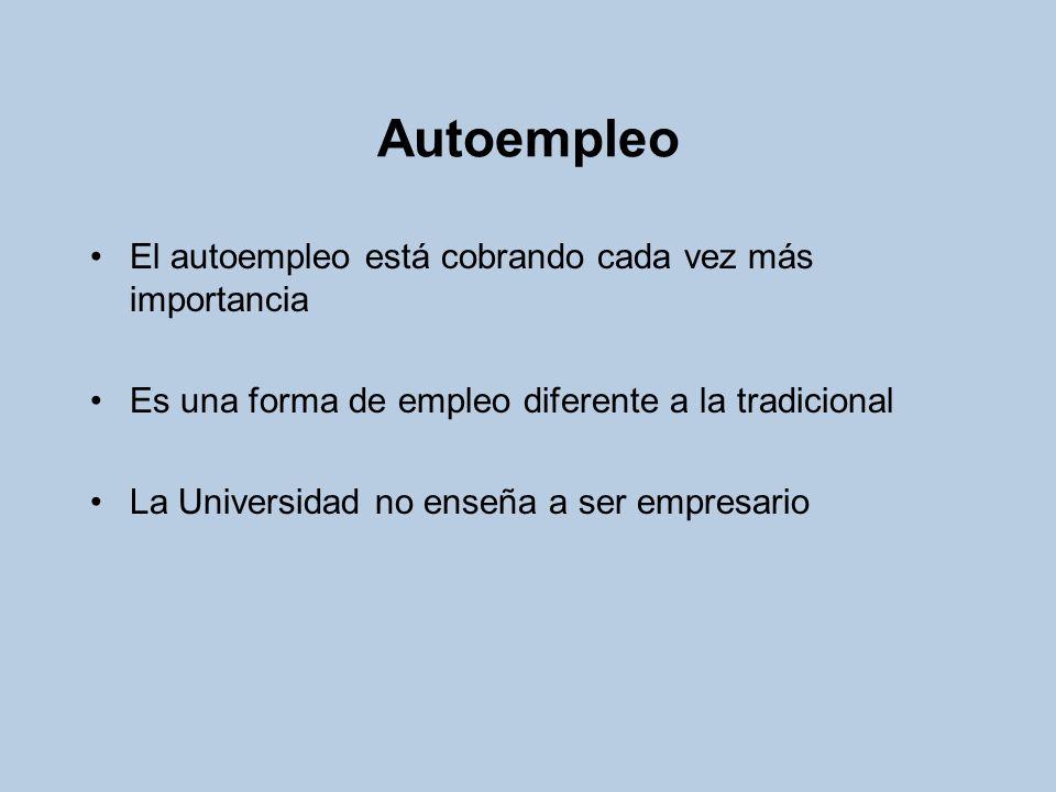 Autoempleo El autoempleo está cobrando cada vez más importancia Es una forma de empleo diferente a la tradicional La Universidad no enseña a ser empre