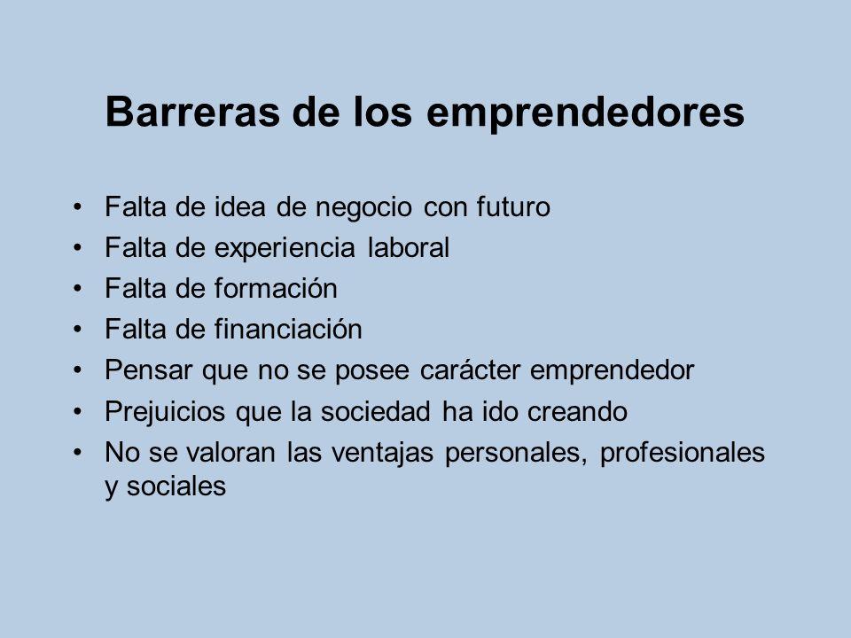 Barreras de los emprendedores Falta de idea de negocio con futuro Falta de experiencia laboral Falta de formación Falta de financiación Pensar que no