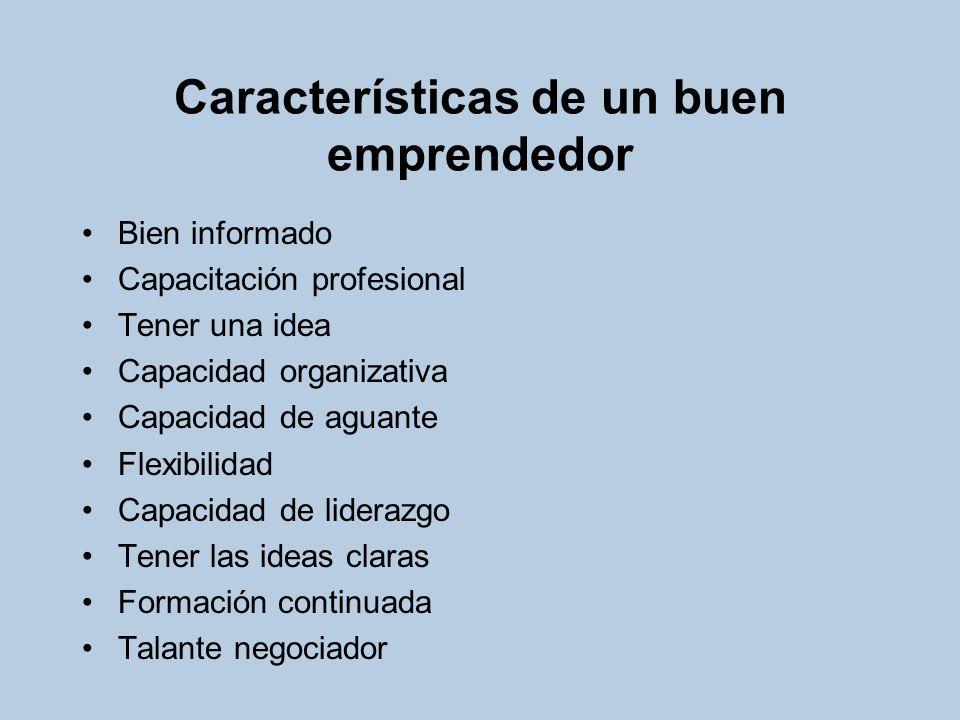 Características de un buen emprendedor Bien informado Capacitación profesional Tener una idea Capacidad organizativa Capacidad de aguante Flexibilidad