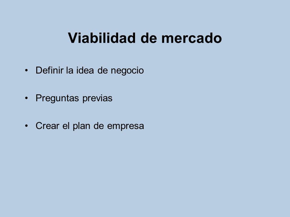 Viabilidad de mercado Definir la idea de negocio Preguntas previas Crear el plan de empresa
