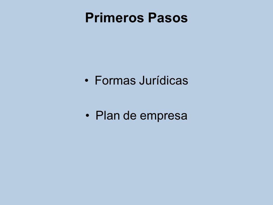 Formas Jurídicas Empresario individual Comunidad de bienes Sociedad Anónima Sociedad de responsabilidad limitada Sociedad laboral Cooperativa de trabajo asociado