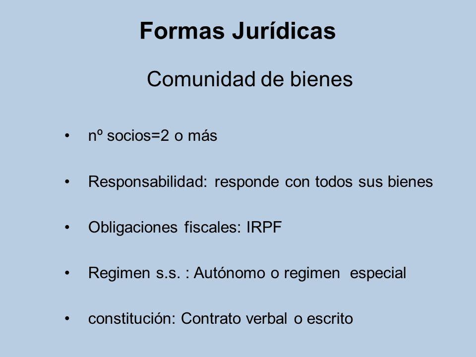 Formas Jurídicas Comunidad de bienes nº socios=2 o más Responsabilidad: responde con todos sus bienes Obligaciones fiscales: IRPF Regimen s.s. : Autón