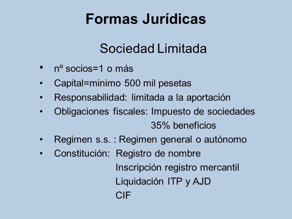 Formas Jurídicas Sociedad Laboral nº socios=minimo 3 Capital=mínimo 500 mil pesetas (SLL) mínimo 10 millones pts (SAL) Responsabilidad: limitada a la aportación Obligaciones fiscales: Impuesto de sociedades 35% beneficios Regimen s.s.