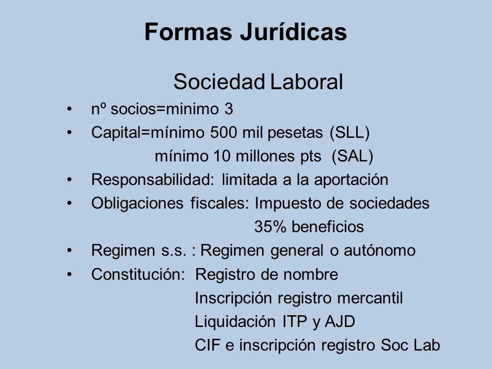 Formas Jurídicas Cooperativa de trabajo asociado nº socios=minimo 3 Capital=minimo 500 mil pesetas (CC AA) Responsabilidad: limitada a la aportación, salvo a los estatutos Obligaciones fiscales: 20% beneficios Regimen s.s.