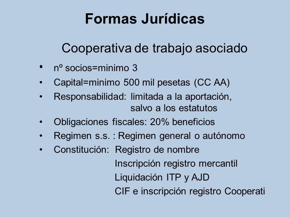 Formas Jurídicas Cooperativa de trabajo asociado nº socios=minimo 3 Capital=minimo 500 mil pesetas (CC AA) Responsabilidad: limitada a la aportación,