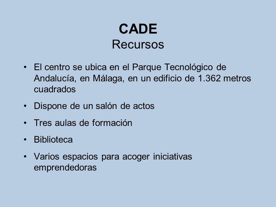 CADE Recursos El centro se ubica en el Parque Tecnológico de Andalucía, en Málaga, en un edificio de 1.362 metros cuadrados Dispone de un salón de act