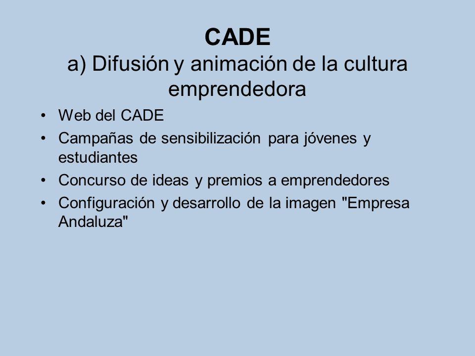 CADE a) Difusión y animación de la cultura emprendedora Web del CADE Campañas de sensibilización para jóvenes y estudiantes Concurso de ideas y premio