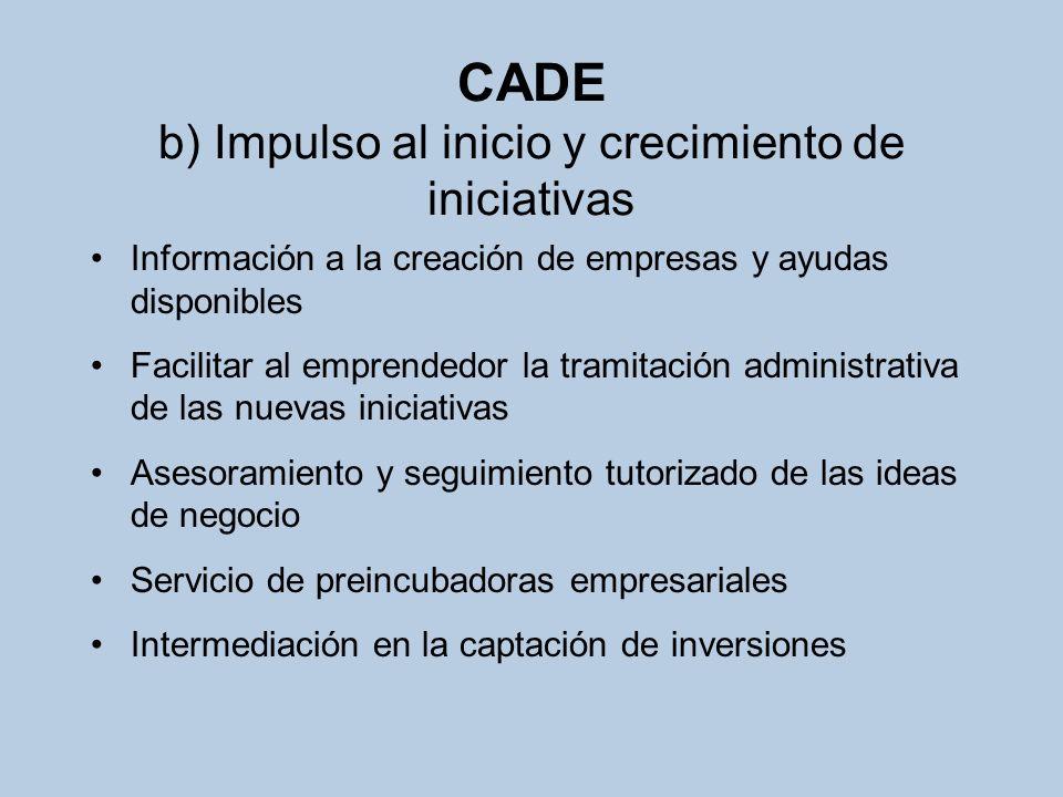CADE c) Formación de emprendedores Jornadas y seminarios Cursos para la creación de empresas Talleres y juegos de simulación para la creación de empresas Fomento de la cultura emprendedora entre jóvenes universitarios y de formación profesional