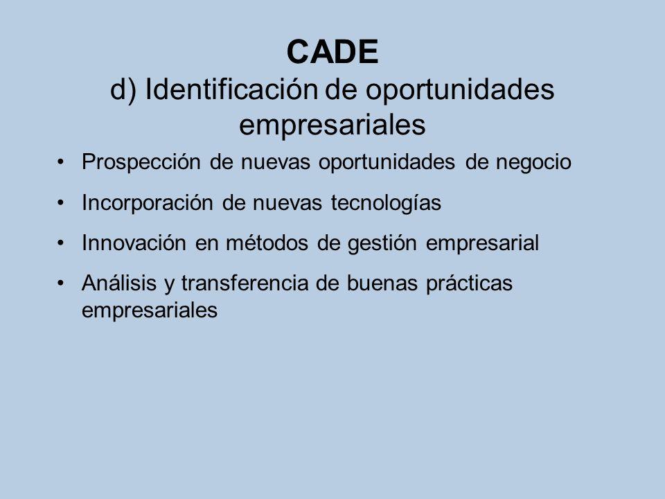 CADE e) Observatorio permanente del emprendedor Evaluación, análisis y estudio de comportamientos y actitudes de los emprendedores andaluces Integración en las redes de información de emprendedores Creación, fomento y gestión de redes y foros estables Publicaciones
