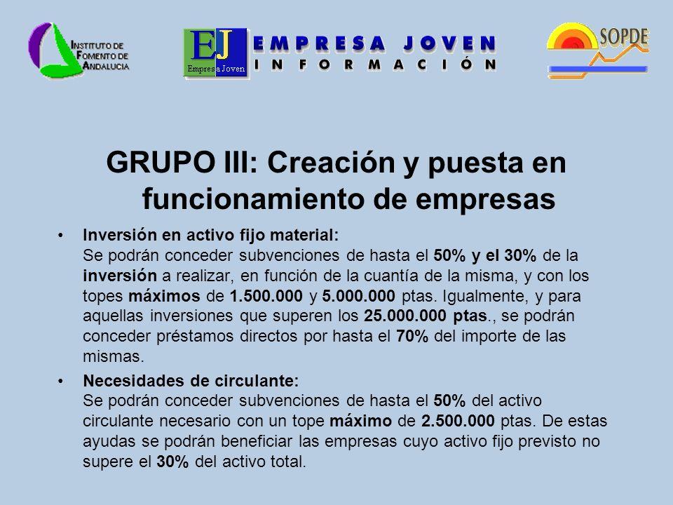 GRUPO III: Creación y puesta en funcionamiento de empresas Inversión en activo fijo material: Se podrán conceder subvenciones de hasta el 50% y el 30% de la inversión a realizar, en función de la cuantía de la misma, y con los topes máximos de 1.500.000 y 5.000.000 ptas.