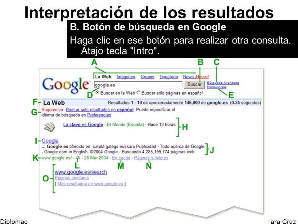 Mtro. Horacio Guevara Cruz Diplomado Tic y Educación Interpretación de los resultados B. Botón de búsqueda en Google Haga clic en ese botón para reali