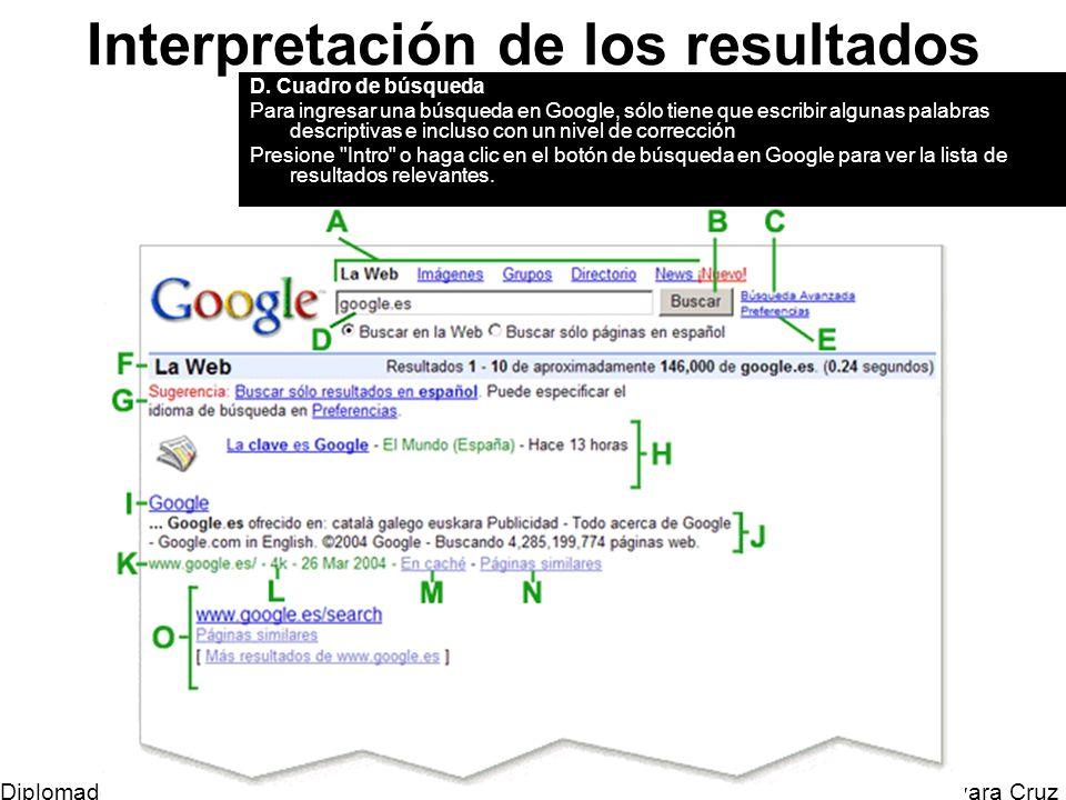 Mtro. Horacio Guevara Cruz Diplomado Tic y Educación Interpretación de los resultados D. Cuadro de búsqueda Para ingresar una búsqueda en Google, sólo