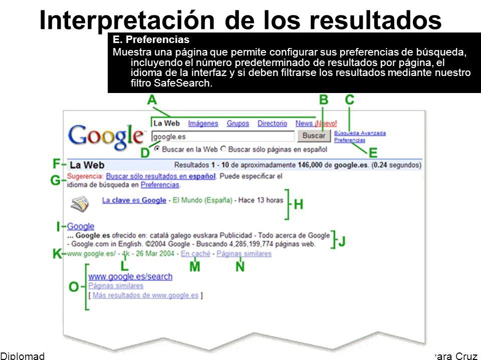 Mtro. Horacio Guevara Cruz Diplomado Tic y Educación Interpretación de los resultados E. Preferencias Muestra una página que permite configurar sus pr