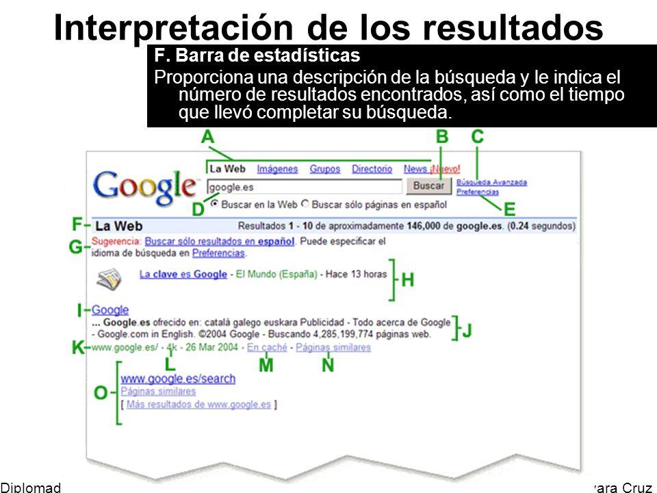 Mtro. Horacio Guevara Cruz Diplomado Tic y Educación Interpretación de los resultados F. Barra de estadísticas Proporciona una descripción de la búsqu