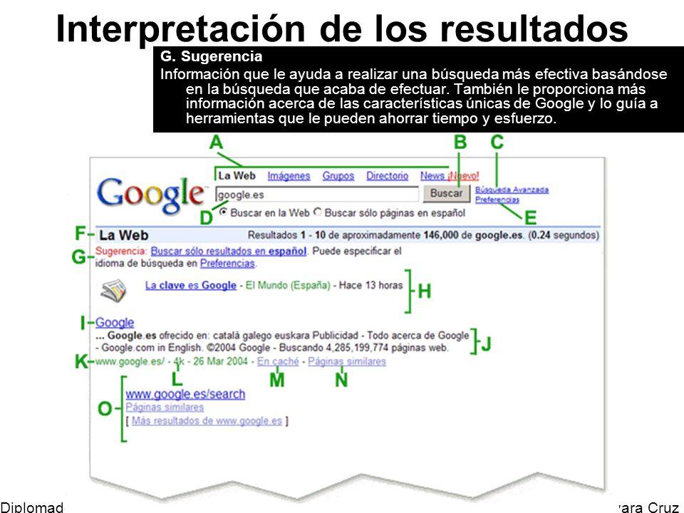Mtro. Horacio Guevara Cruz Diplomado Tic y Educación Interpretación de los resultados G. Sugerencia Información que le ayuda a realizar una búsqueda m