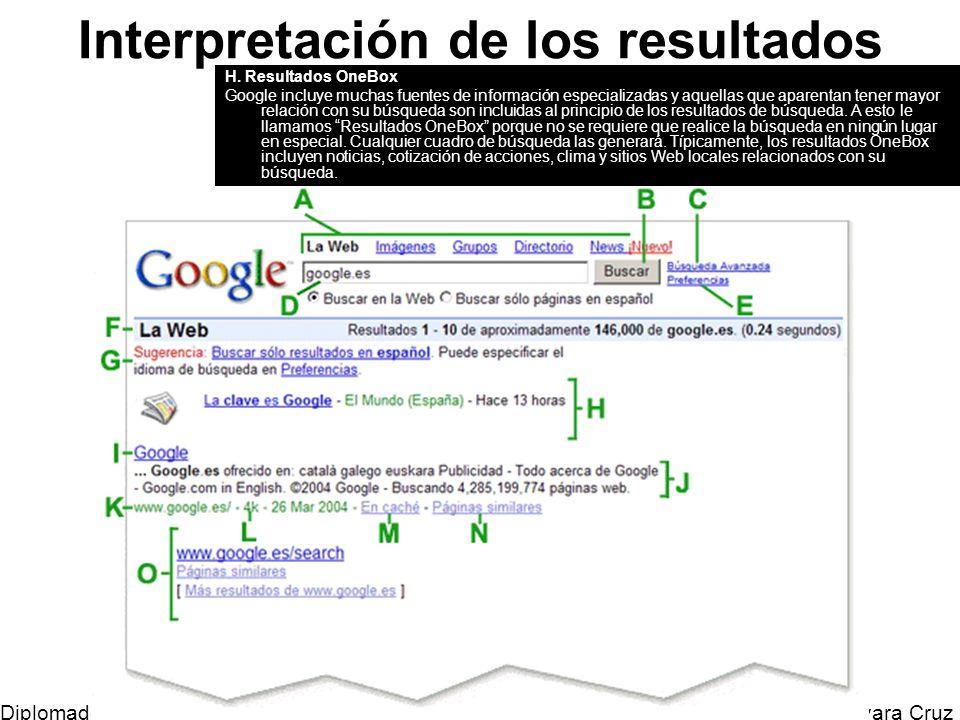 Mtro. Horacio Guevara Cruz Diplomado Tic y Educación Interpretación de los resultados H. Resultados OneBox Google incluye muchas fuentes de informació