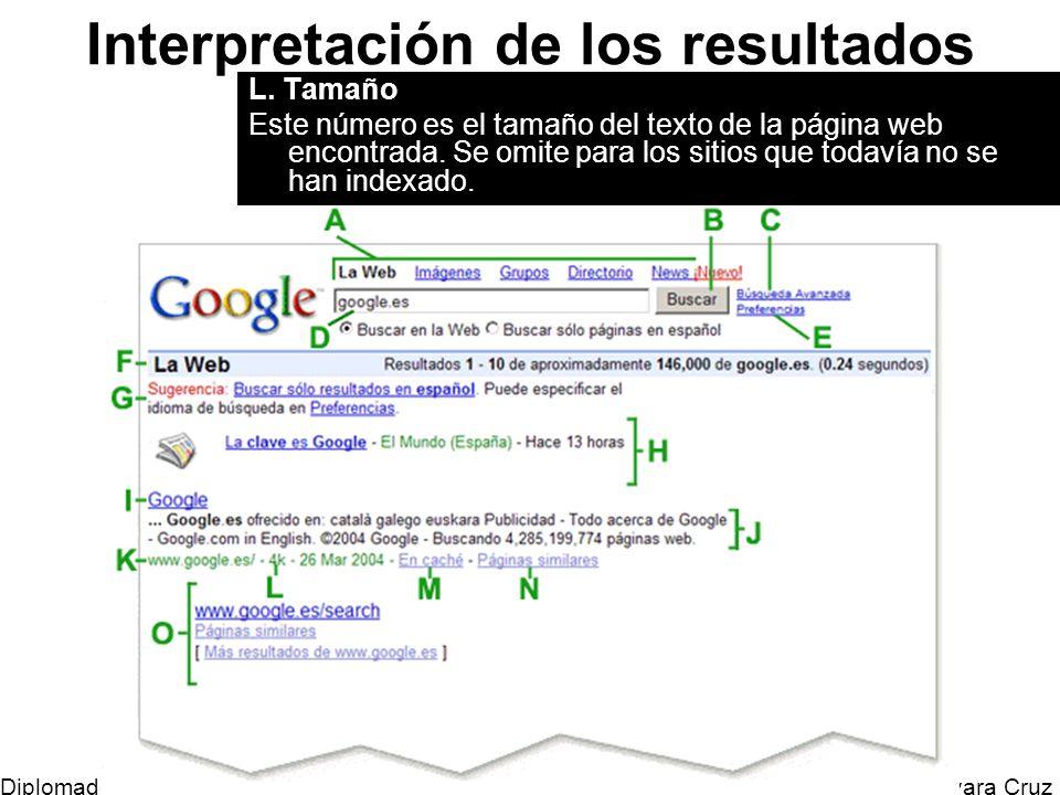 Mtro. Horacio Guevara Cruz Diplomado Tic y Educación Interpretación de los resultados L. Tamaño Este número es el tamaño del texto de la página web en