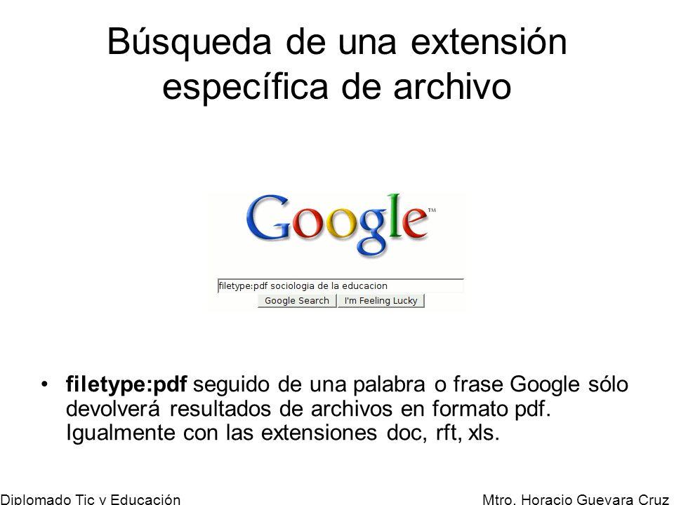 Mtro. Horacio Guevara Cruz Diplomado Tic y Educación Búsqueda de una extensión específica de archivo filetype:pdf seguido de una palabra o frase Googl