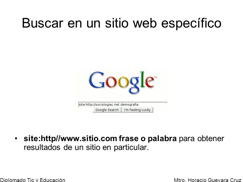 Mtro. Horacio Guevara Cruz Diplomado Tic y Educación Buscar en un sitio web específico site:http//www.sitio.com frase o palabra para obtener resultado