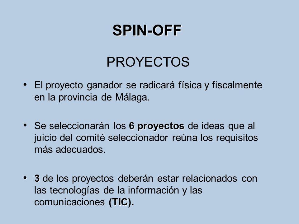 SPIN-OFF El proyecto ganador se radicará física y fiscalmente en la provincia de Málaga. 6 proyectos Se seleccionarán los 6 proyectos de ideas que al
