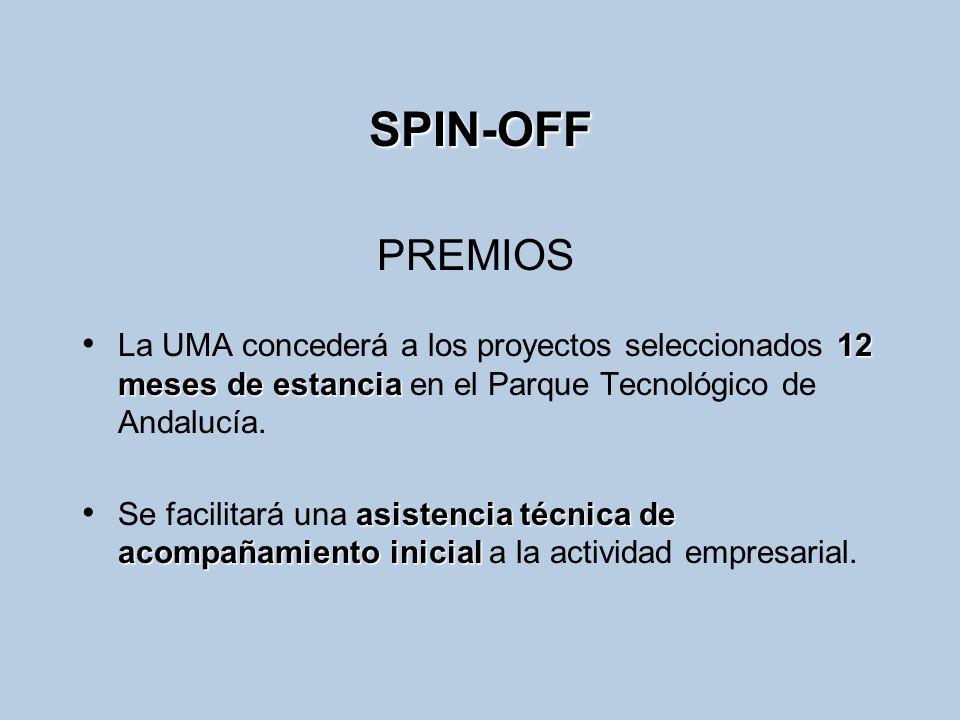 SPIN-OFF 12 meses de estancia La UMA concederá a los proyectos seleccionados 12 meses de estancia en el Parque Tecnológico de Andalucía. asistencia té