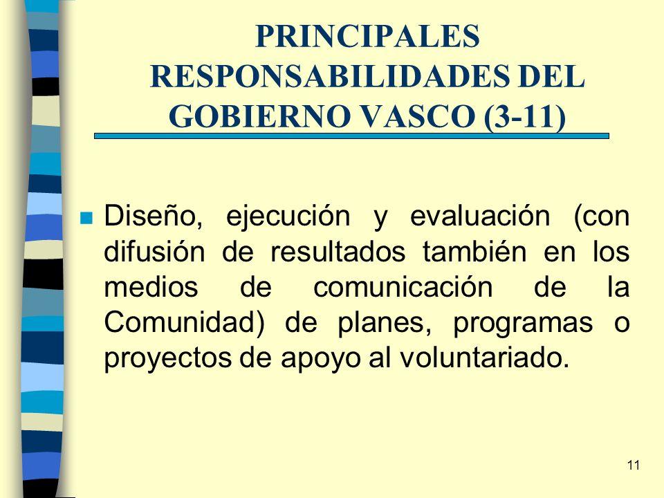 11 PRINCIPALES RESPONSABILIDADES DEL GOBIERNO VASCO (3-11) n Diseño, ejecución y evaluación (con difusión de resultados también en los medios de comun