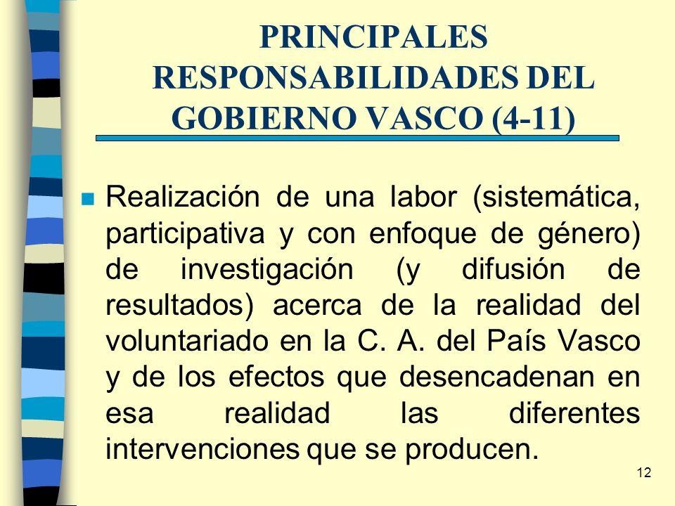 12 PRINCIPALES RESPONSABILIDADES DEL GOBIERNO VASCO (4-11) n Realización de una labor (sistemática, participativa y con enfoque de género) de investig