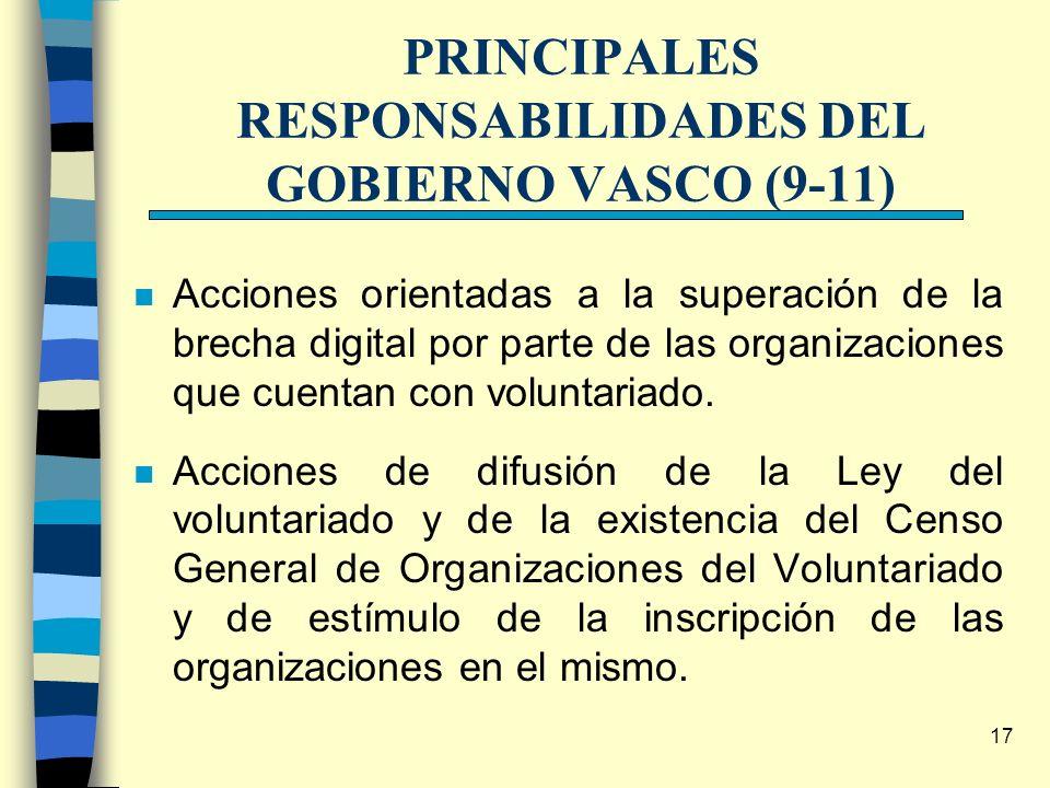 17 PRINCIPALES RESPONSABILIDADES DEL GOBIERNO VASCO (9-11) n Acciones orientadas a la superación de la brecha digital por parte de las organizaciones