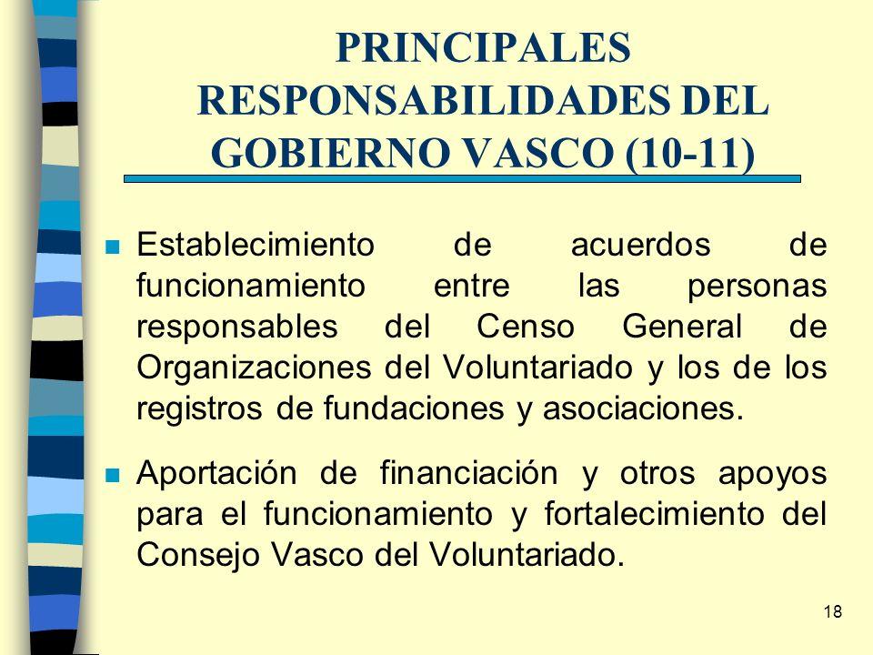 18 PRINCIPALES RESPONSABILIDADES DEL GOBIERNO VASCO (10-11) n Establecimiento de acuerdos de funcionamiento entre las personas responsables del Censo