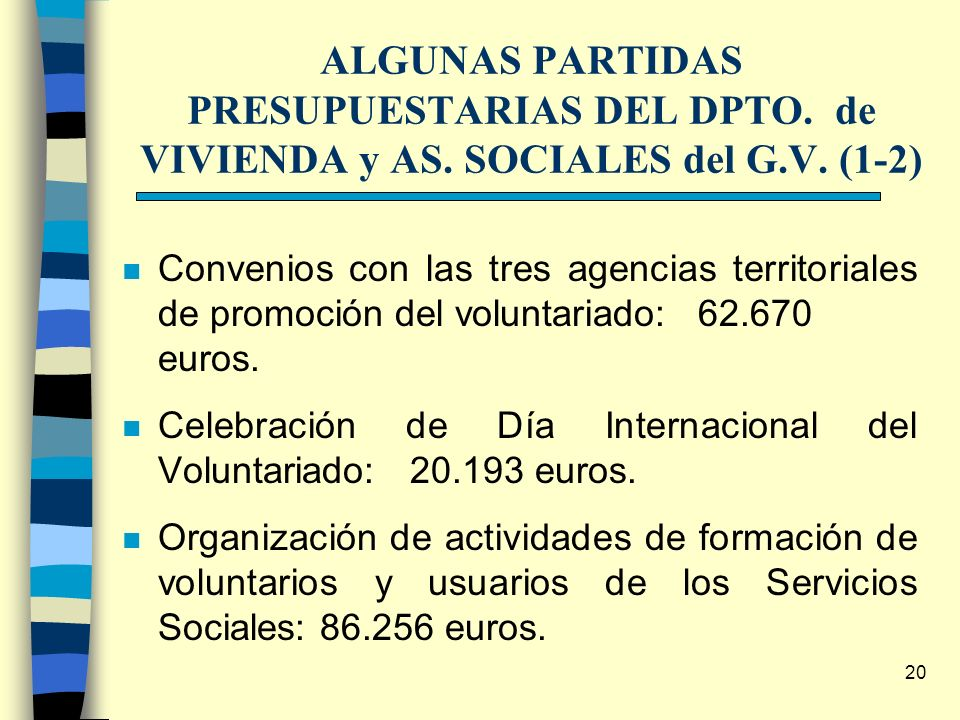 20 ALGUNAS PARTIDAS PRESUPUESTARIAS DEL DPTO. de VIVIENDA y AS. SOCIALES del G.V. (1-2) n Convenios con las tres agencias territoriales de promoción d