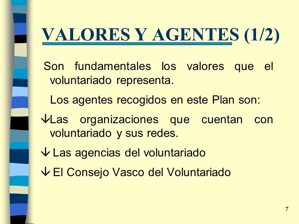 7 VALORES Y AGENTES (1/2) Son fundamentales los valores que el voluntariado representa. Los agentes recogidos en este Plan son: âLas organizaciones qu