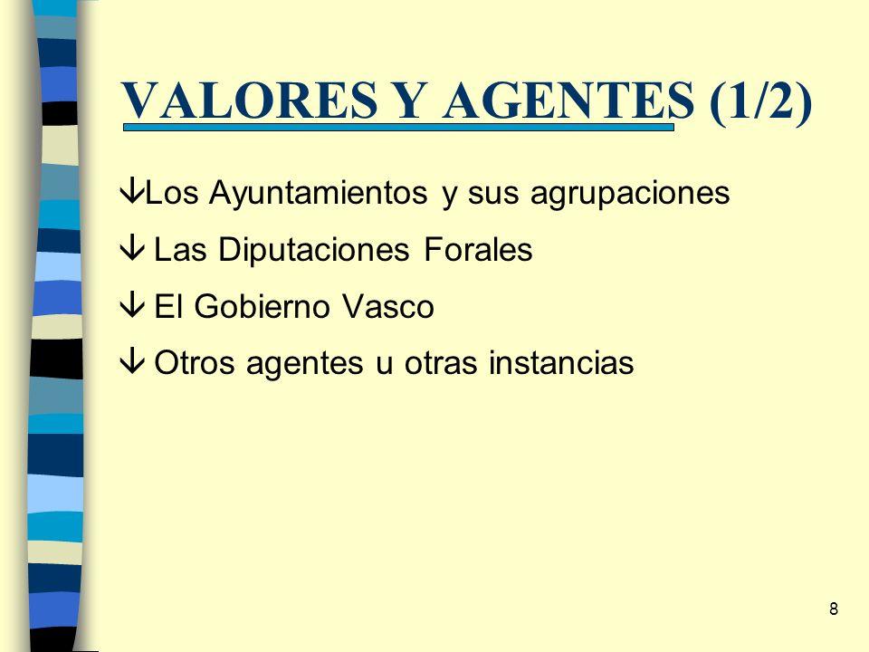 8 VALORES Y AGENTES (1/2) âLos Ayuntamientos y sus agrupaciones â Las Diputaciones Forales â El Gobierno Vasco â Otros agentes u otras instancias