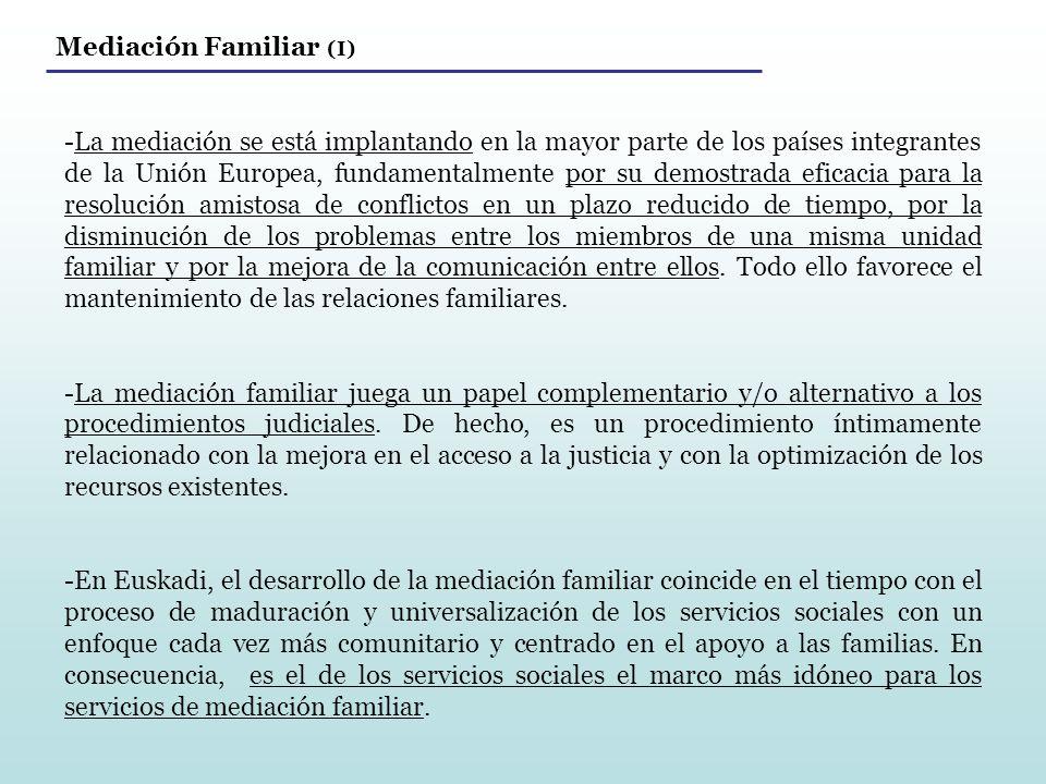 Mediación Familiar (I) -La mediación se está implantando en la mayor parte de los países integrantes de la Unión Europea, fundamentalmente por su demo
