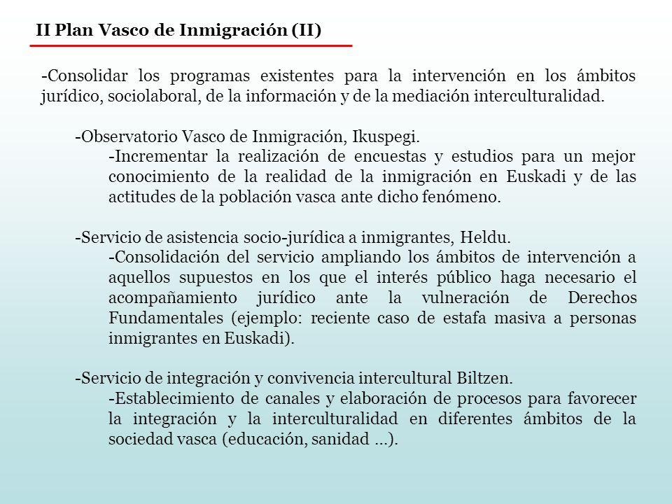 II Plan Vasco de Inmigración (II) -Consolidar los programas existentes para la intervención en los ámbitos jurídico, sociolaboral, de la información y de la mediación interculturalidad.