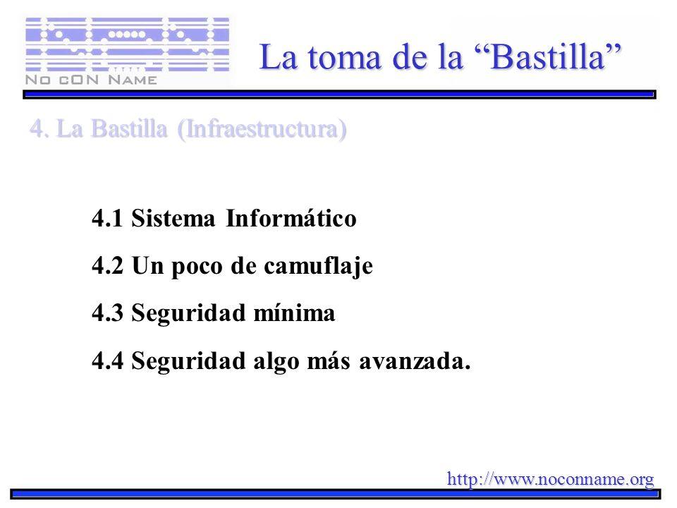 http://www.noconname.org La toma de la Bastilla 4. La Bastilla (Infraestructura) 4.1 Sistema Informático 4.2 Un poco de camuflaje 4.3 Seguridad mínima