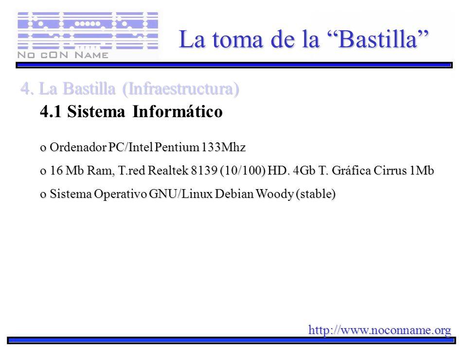 http://www.noconname.org La toma de la Bastilla 4. La Bastilla (Infraestructura) 4.1 Sistema Informático o Ordenador PC/Intel Pentium 133Mhz o 16 Mb R