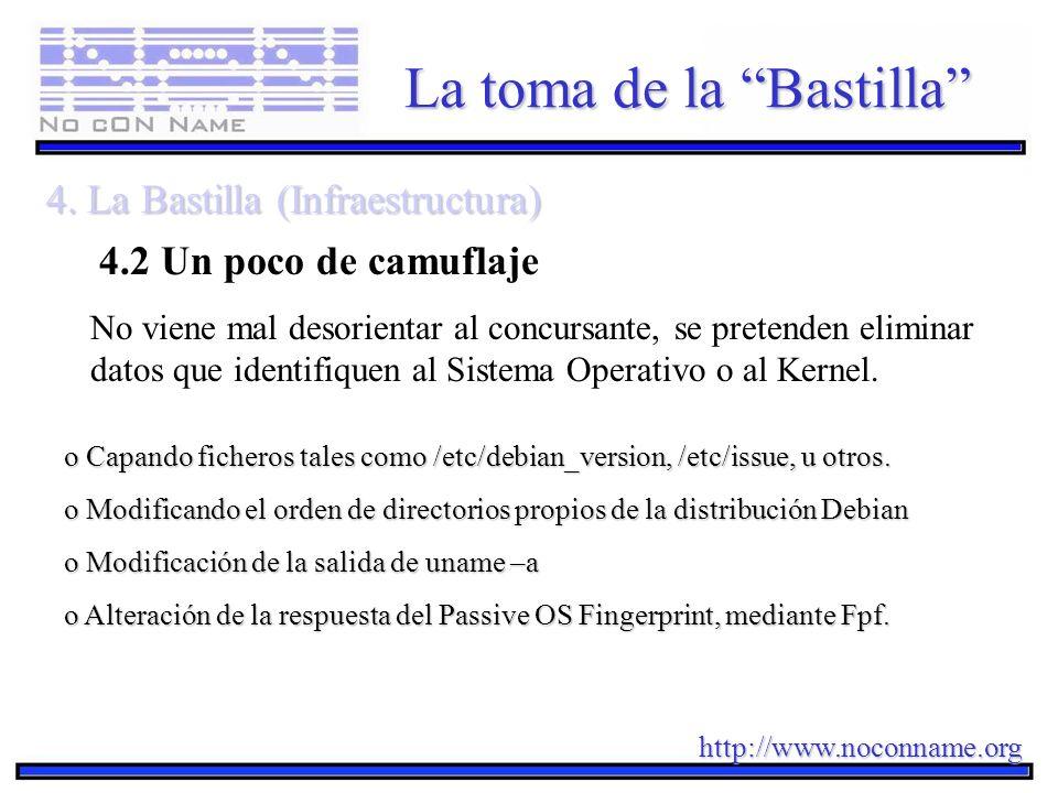 http://www.noconname.org La toma de la Bastilla 4. La Bastilla (Infraestructura) 4.2 Un poco de camuflaje o Capando ficheros tales como /etc/debian_ve