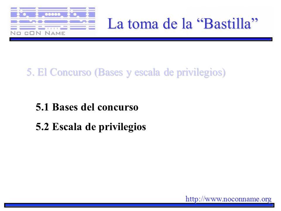 http://www.noconname.org La toma de la Bastilla 5. El Concurso (Bases y escala de privilegios) 5.1 Bases del concurso 5.2 Escala de privilegios