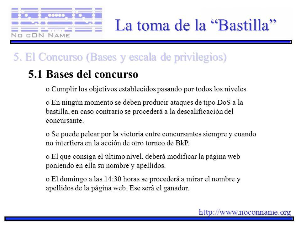 http://www.noconname.org La toma de la Bastilla 5. El Concurso (Bases y escala de privilegios) 5.1 Bases del concurso o Cumplir losobjetivos estableci