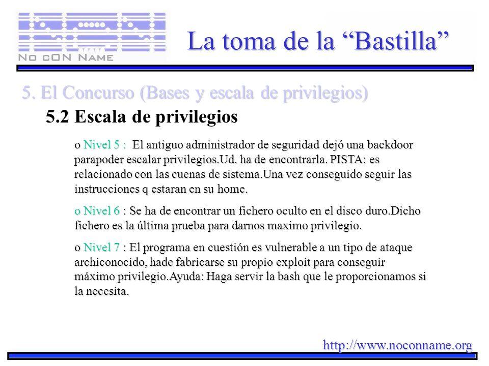 http://www.noconname.org La toma de la Bastilla 5. El Concurso (Bases y escala de privilegios) 5.2 Escala de privilegios o Nivel 5 : El antiguo admini