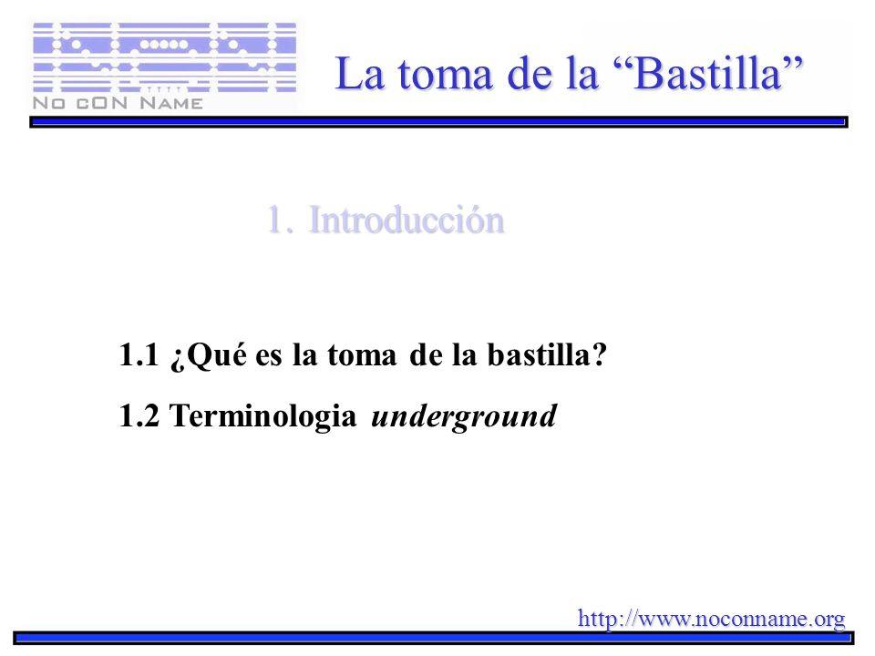http://www.noconname.org La toma de la Bastilla 1.Introducción 1.1 ¿Qué es la toma de la bastilla? 1.2 Terminologia underground