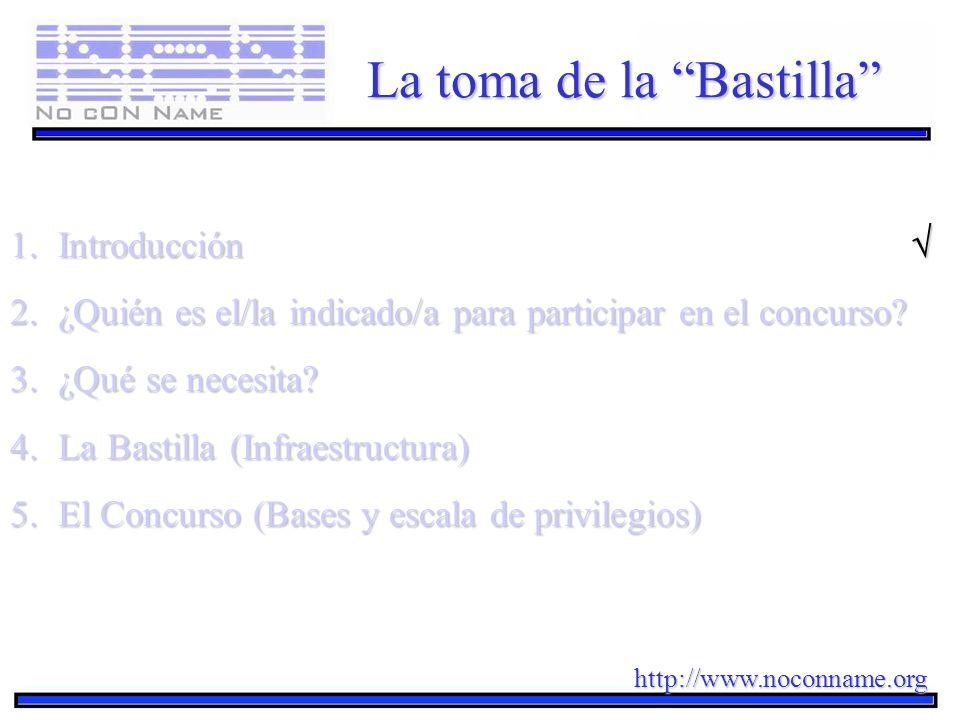 http://www.noconname.org La toma de la Bastilla 1.Introducción 1.Introducción 2.¿Quién es el/la indicado/a para participar en el concurso? 3.¿Qué se n