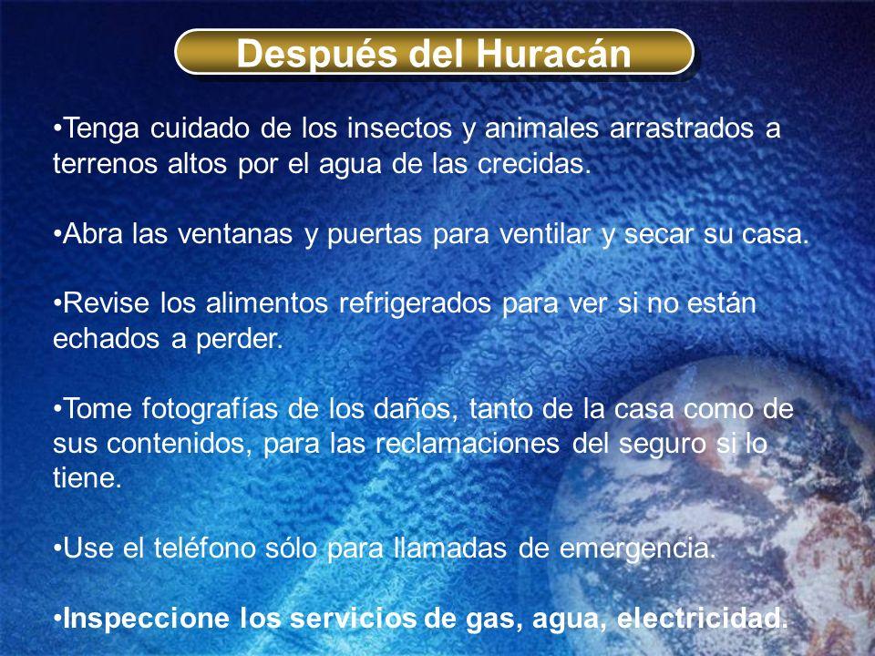 Después del Huracán Tenga cuidado de los insectos y animales arrastrados a terrenos altos por el agua de las crecidas. Abra las ventanas y puertas par