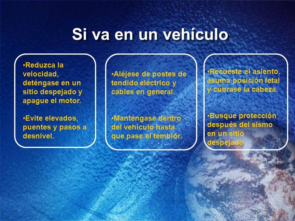 Si va en un vehículo Reduzca la velocidad, deténgase en un sitio despejado y apague el motor. Evite elevados, puentes y pasos a desnivel. Aléjese de p
