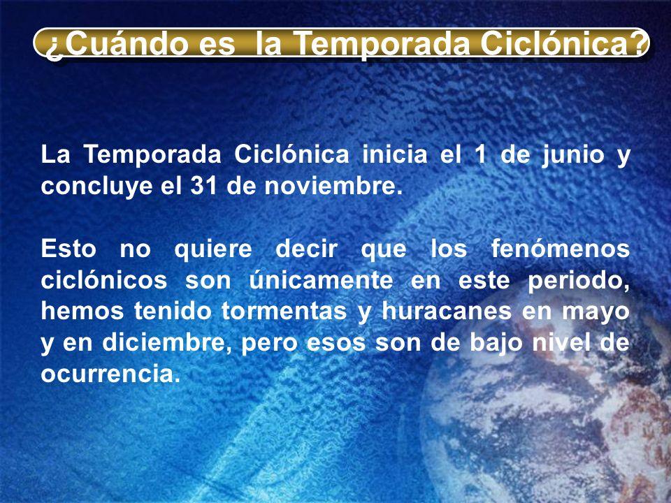 Clasificación de Ciclones Un Ciclón Tropical se desarrolla sobre aguas tropicales y tiene una circulación, en superficie, organizada y definida en el sentido contrario a las manecillas del reloj.