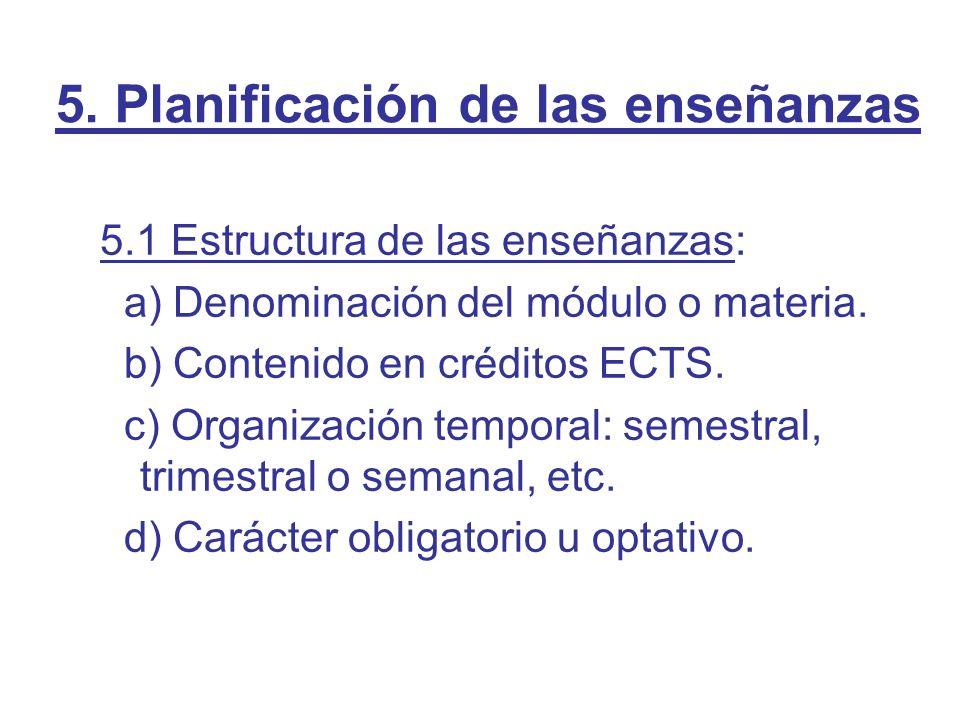 5. Planificación de las enseñanzas 5.1 Estructura de las enseñanzas: a) Denominación del módulo o materia. b) Contenido en créditos ECTS. c) Organizac