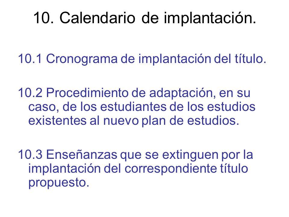 10. Calendario de implantación. 10.1 Cronograma de implantación del título. 10.2 Procedimiento de adaptación, en su caso, de los estudiantes de los es