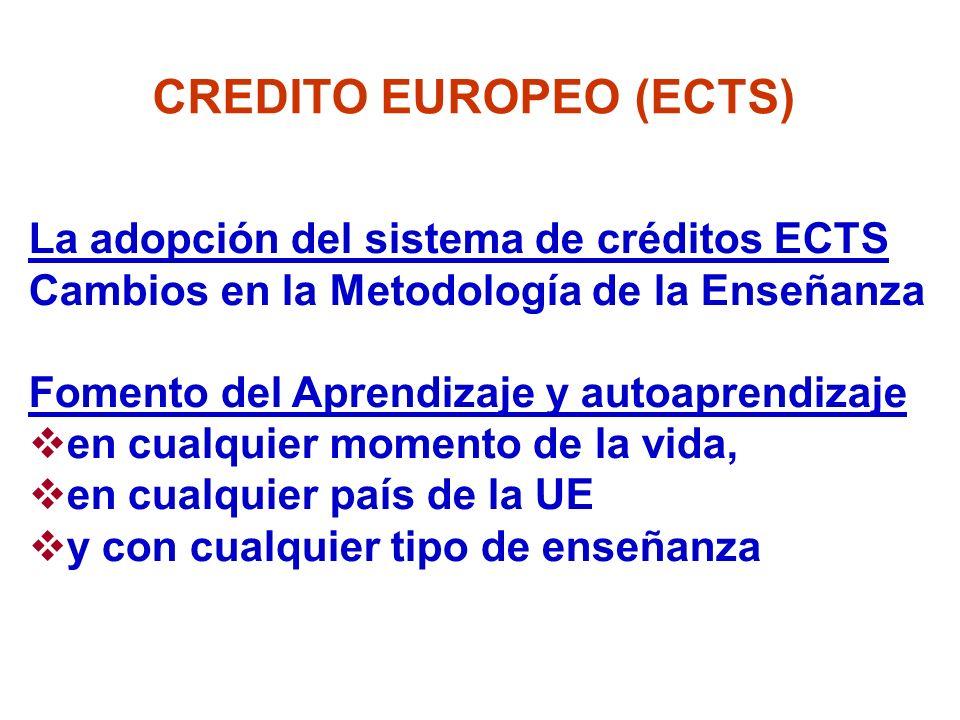 La adopción del sistema de créditos ECTS Cambios en la Metodología de la Enseñanza Fomento del Aprendizaje y autoaprendizaje en cualquier momento de l