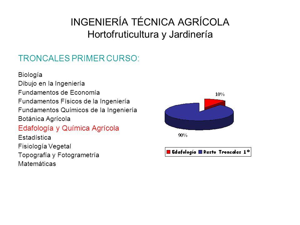 INGENIERÍA TÉCNICA AGRÍCOLA Hortofruticultura y Jardinería TRONCALES PRIMER CURSO: Biología Dibujo en la Ingeniería Fundamentos de Economía Fundamento